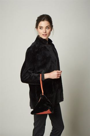 Sheepskin Clutch Bag Black - Studley
